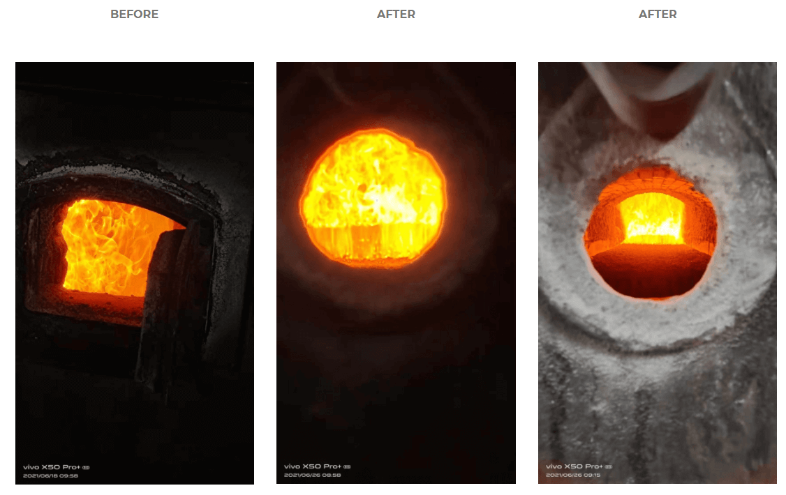 HHO Generator flame before after